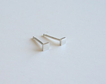 Silver Square Stud Earrings, Tiny Earrings, Silver Earrings, Stud Earrings, Post Earrings, Small Earrings, Minimal Earrings, Handmade