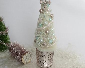 Shabby Cream Pink Christmas Tree, Bottle Brush Tree, Pink Cross Topper, Vintage, Victorian, French Christmas