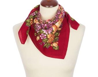 PAVLOVO POSAD SHAWL 100% Wool Russian Platok Kerchief Square Scarf Women's Wrap 72x72cm Cape Pashmina Headband Wrap Birthday Gift 1673-6
