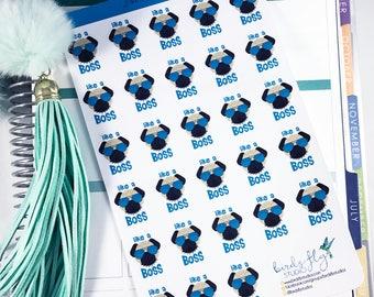 Like a Boss Pug Stickers | Snarky Stickers / Boss Stickers for Planners / Planner Snark Stickers