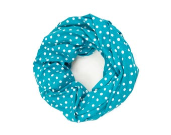 Polka Dot Infinity Scarf, Teal Scarf, Teal Circle Scarf Womens Scarf, Wife Gift for Her Girlfriend Gift, Polka Dot Scarf Spring Fashion
