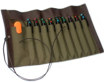 Canvas & leather-pencil role case, OLIVE