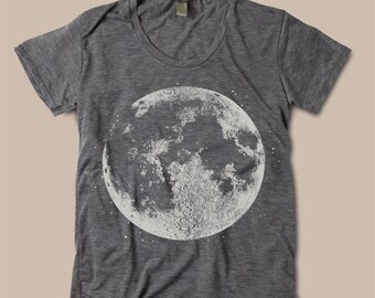 Womens FULL MOON Shirt Print Vintage Boho Bohemian Slouchy Short Sleeve T shirt Halloween Tee Top Alternative Apparel S M L  More colors