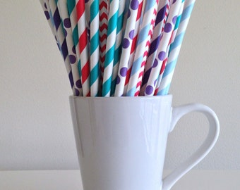 Red, Purple, Teal, Blue Paper Straws Party Supplies Little Mermaid Birthday Party Decor Bar Cart Cake Pop Sticks Mason Jar Straw Graduation