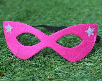 Superhero mask, felt mask, girls superhero costume, hot pink superhero mask, silver glitter stars, elastic band, kid cape, costume accessory