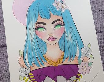 Anime Girl, Manga Girl, Surreal, Pop Surrealism, Fantasy Art Floral Girl, Original Artwork A4 Drawing, Ink, Marker Illustration