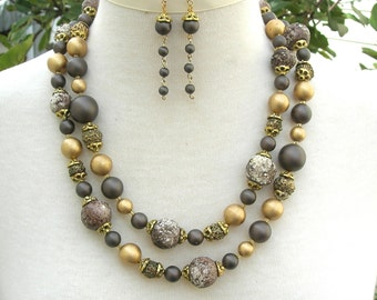 LONG Versatile Necklace Set, Faux Pearls & Organic Beads, Wear it 3 Ways, Redesigned Vintage Multi-Strand Necklace Set by SandraDesigns