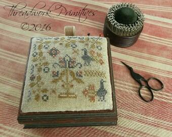 Primitive Cross Stitch Pattern - Peacock Garden Pin Box