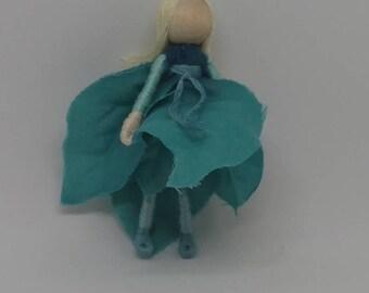 Christmas Elf - Teal Poinsettia Art Doll, bendy doll, ornament, worry doll