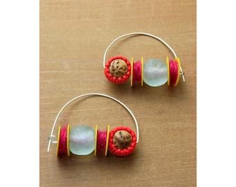Fiber Statement Earrings // Handmade • Fiber Arts • Beaded // 18002