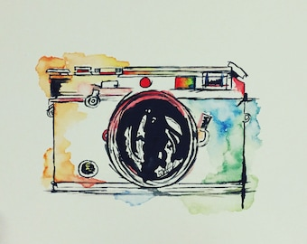 Camera Canvas Original Watercolor Painting