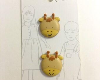 Belle Buttons By Dritz Kids Children Giraffe 20mm ( 13/16 inches) Zoo Animals Button |  Item BB906  *B3