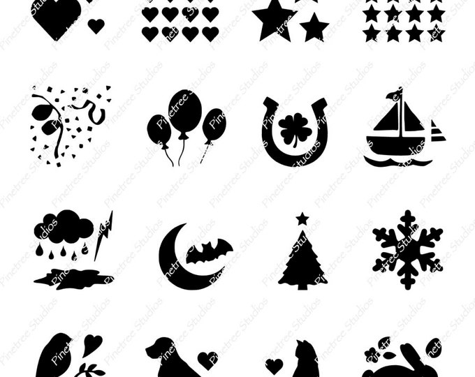 16 Fun Image Groups SVG Digital Download / Cuttable / Clip Art / Stencil / Silhouette / Cricut / Printable / Color Book / Decal