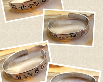 Jeep Hieroglyphics designs  hand stamped and polished aluminum cuff bracelet OIIIIIIIO