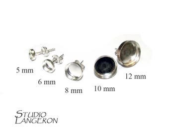 925 Sterling Silver Round Bezel cup Post Earring Mountings size 5, 6, 8, 10, 12 mm, Earring Backs Included, Earrings - 1 pair (2 piece)