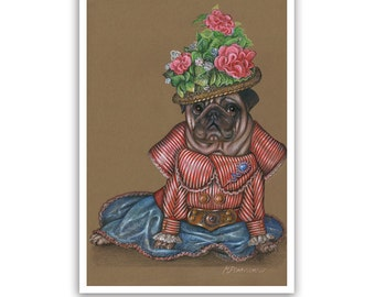 Pug Art Print / Lady Flower / Dog Lover Gifts & Wall Art / Dog Portraits by Animal Century