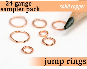 523 pcs 24g copper sampler pack jump rings 24 gauge 24gsamp solid copper jewelry rings findings