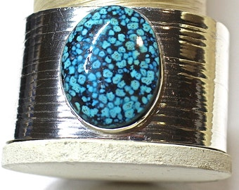 Kingman Spiderweb Turquoise and Sterling Cuff