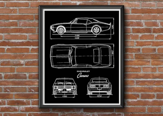 Camaro blueprint chevrolet camaro decor blueprint art malvernweather Gallery