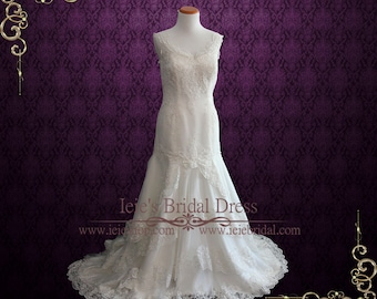 Elegant Lace Tiered Fit and Flare Wedding Dress with Open Back   Sasha