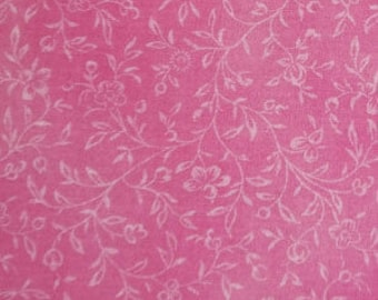Cotton Fabric Bright Pink with White Flowers