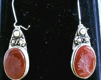 Sterling silver earrings  with ancient Greek warrior curved on Red Sardonix.