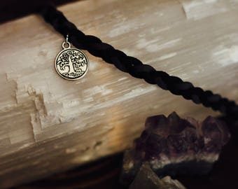 TREE OF LIFE faux suede braided bracelet