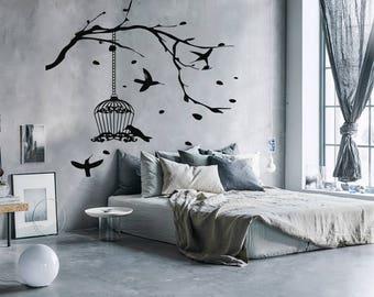 Wall Decal Sticker Bedroom birds tree boy girl teenager teen kids room  046d
