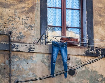 Favorite Jeans Fine Art Photography Italy Tuscany Siena Urban laundry line old world quirky washing blue jeans faded Italian life highrise