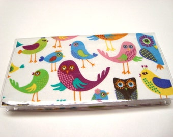 Stylish Checkbook Cover , Holder - Love Birds