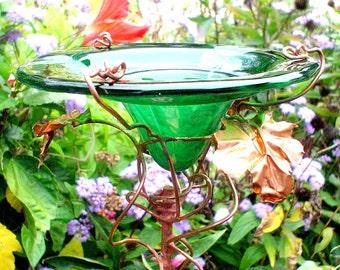 Garden DRAGONFLIES Feeder, BIRDS and BUTTERFLIES, Stained Glass, Green, Copper Art, Garden Gift, Outdoor
