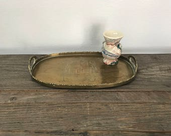 Vintage small oval etched chinoiserie brass tray with handles