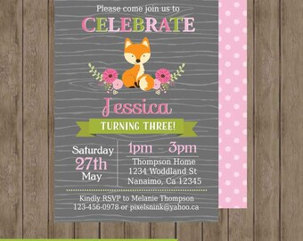 PRINTABLE CUSTOMIZABLE Little Floral Fox Birthday Party invitation for girls - includes free backside design by Pixels n Ink