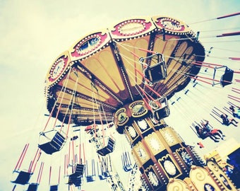 Carnival Ride Photograph - Ride The Sky - Swing Ride - New York Coney Island Luna Park - Nursery Wall Art - Kid's Room Decor