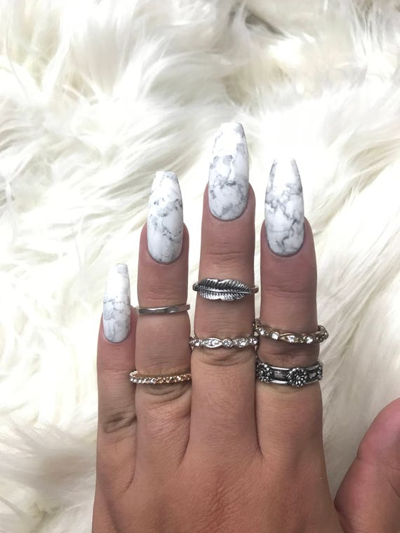 READY TO SHIP Classic Marble Press On Nails White Nails