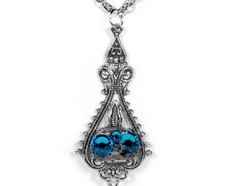 Steampunk Jewelry Necklace Vintage Watch Victorian Silver Filigree Turquoise Womens Steam Punk Holiday Bridesmaids Gift - Steampunk Boutique