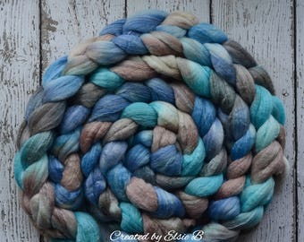 Merino/ Bamboo 'Cerulean Dream' 4 oz hand dyed combed top, CreatedbyElsieB wool roving for spinning fiber, roving by the pound, blue