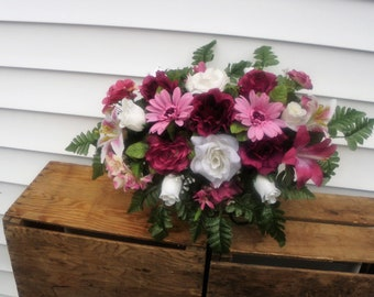 Cemetery Flowers, Tombstone Saddle, Cemetery Headstone Flowers, Grave Flowers, Maroon and Ivory Rose, Mauve Daisy Memorial Day Flowers FF404