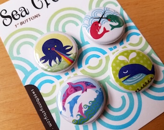 Sea Creatures One Inch Pinback Buttons Octopus Narwhal Whale Dolphin Ocean