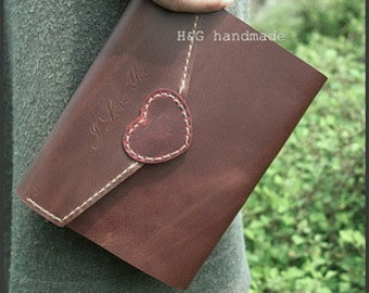 Handmade leather journal , blank  notebook ,love letter longstich handbound,unique gift