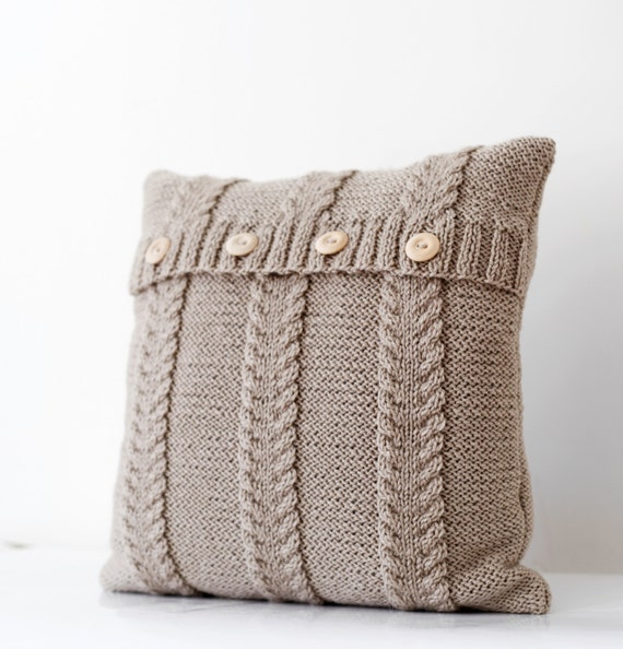 Amato Cable hand knitted beige pillow cover handmade decorative FU46