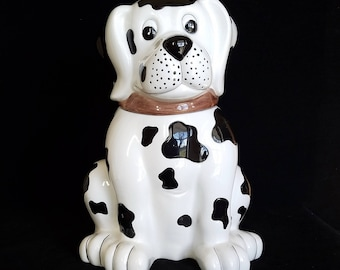 Dog Cookie Jar Vintage - Cookie Jar Lid - Cookie Jar Ceramic - Dalmatian - Kitchen Storage