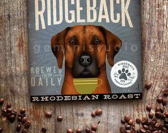 Rhodesian Ridgeback dog Coffee Company advertising style artwork on gallery wrapped canvas OR canvas panel by stephen fowler