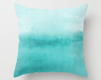 Abstract Throw Pillow Cover Turquoise Aqua Teal Modern Home Decor Living room bedroom accessories Cushion Decorative Pillow Cover