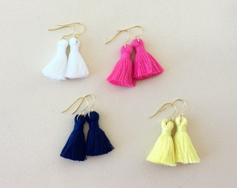 "35 Colors/ 1.25"" Tassel/ 1 PAIR/ Mini Tassel/ Tassel Earrings/ Lightweight/ Cotton Tassel/ Simple Tassel Earring"