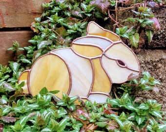 Easter Bunny Suncatcher - Handmade Stained Glass Spring Garden Decoration Ornament