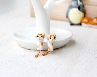 Orange Cat Earrings, Gauge & Plug Earrings, Two Piece Earrings, Two Part Earrings, Cat clinging earrings, Cat gauges, Cat plugs