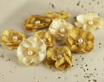 """1"""" Bristo Blooms - Nugget 553081- Exquisite little silk layered  fabric flower  blossoms with a touch of lace & pearls-  yellow golden tones"""