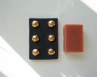 Black and Gold Ceramic Soap Dish. The Object Enthusiast. Soap Dish. Ceramic home decor. Modern Ceramics. Gold and black ceramic dish.