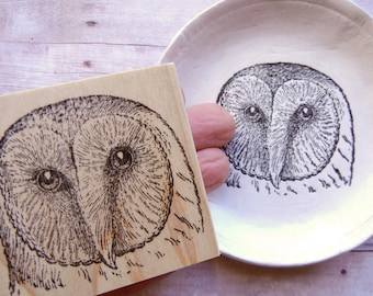 Barn Owl Rubber Stamp / Bird Rubber Stamp - Handmade by Blossom Stamps